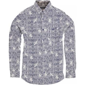vaatteet Miehet Pitkähihainen paitapusero Brave Soul Idris Ink/ Optic White