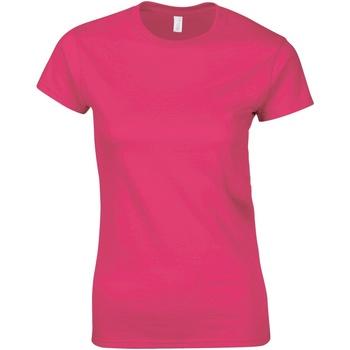 vaatteet Naiset Lyhythihainen t-paita Gildan Soft Heliconia