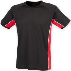 vaatteet Lapset Lyhythihainen t-paita Finden & Hales LV242 Black/ Red/ White