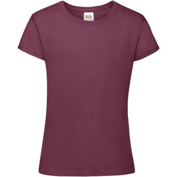 vaatteet Tytöt Lyhythihainen t-paita Fruit Of The Loom 61017 Burgundy