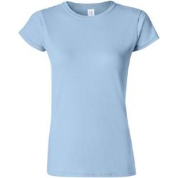 vaatteet Naiset Lyhythihainen t-paita Gildan Soft Light Blue