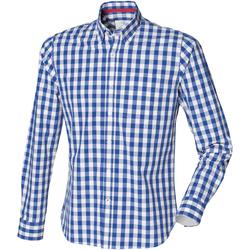 vaatteet Miehet Pitkähihainen paitapusero Front Row FR500 Blue Check