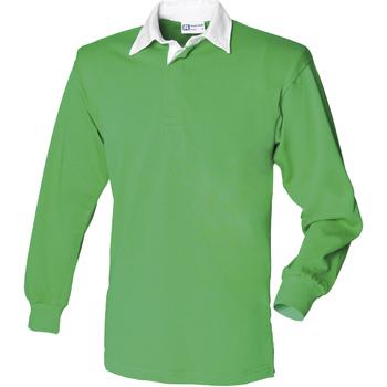 vaatteet Miehet Pitkähihainen poolopaita Front Row FR100 Bright Green/White