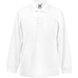 vaatteet Pojat Pitkähihainen poolopaita Fruit Of The Loom 63201 White