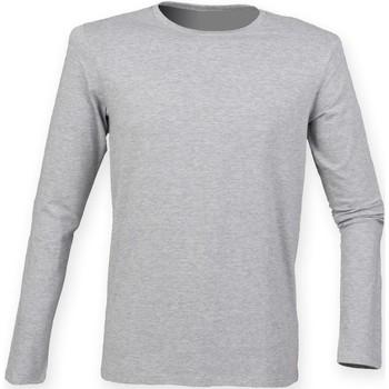 vaatteet Miehet T-paidat pitkillä hihoilla Skinni Fit SF124 Heather Grey
