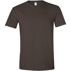vaatteet Miehet Lyhythihainen t-paita Gildan Soft-Style Dark Chocolate