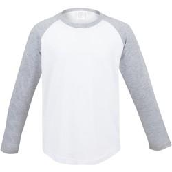 vaatteet Lapset T-paidat pitkillä hihoilla Skinni Fit SM271 White / Heather Grey