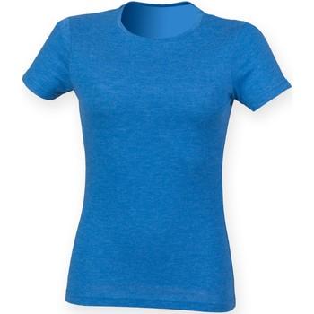 vaatteet Naiset Lyhythihainen t-paita Skinni Fit SK161 Blue Triblend