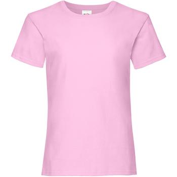 vaatteet Tytöt Lyhythihainen t-paita Fruit Of The Loom Valueweight Light Pink