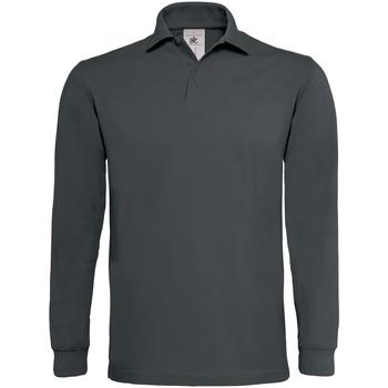 vaatteet Miehet Pitkähihainen poolopaita B And C PU423 Dark Grey