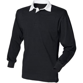 vaatteet Miehet Pitkähihainen poolopaita Front Row FR100 Black/White