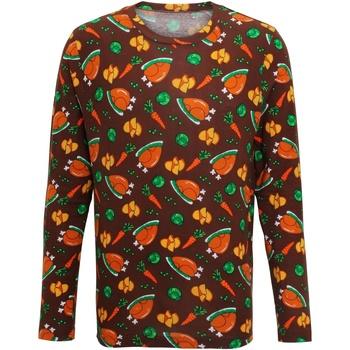 vaatteet Miehet T-paidat pitkillä hihoilla Christmas Shop CS002 Brown