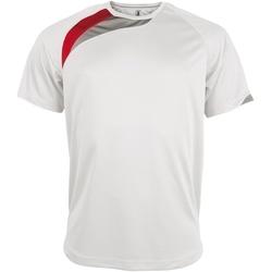 vaatteet Miehet Lyhythihainen t-paita Kariban Proact PA436 White/ Red/ Storm Grey