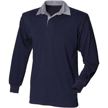 vaatteet Miehet Pitkähihainen poolopaita Front Row Rugby Navy/Slate collar