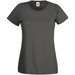vaatteet Naiset Lyhythihainen t-paita Fruit Of The Loom 61372 Light Graphite