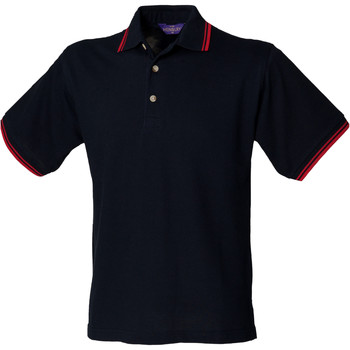 vaatteet Miehet Lyhythihainen poolopaita Henbury HB150 Navy Red tipping