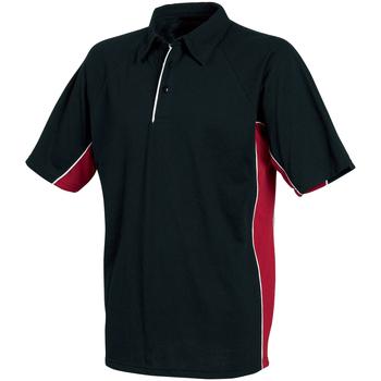 vaatteet Miehet Lyhythihainen poolopaita Tombo Teamsport TL065 Black/Red/White Piping