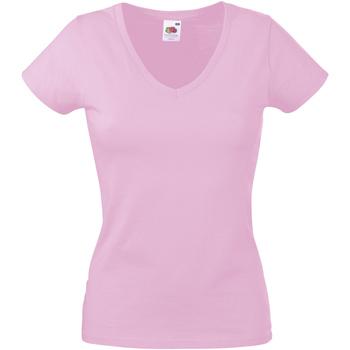 vaatteet Naiset Lyhythihainen t-paita Fruit Of The Loom 61398 Light Pink