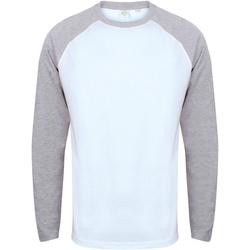 vaatteet Miehet T-paidat pitkillä hihoilla Skinni Fit SF271 White / Heather Grey