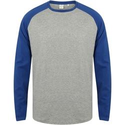 vaatteet Miehet T-paidat pitkillä hihoilla Skinni Fit SF271 Heather Grey / Royal