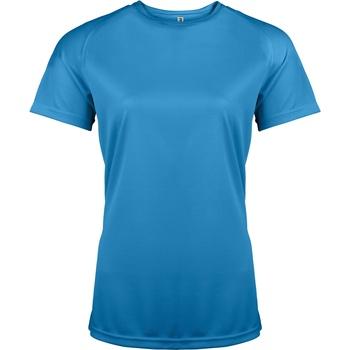 vaatteet Naiset Lyhythihainen t-paita Kariban Proact PA439 Aqua Blue