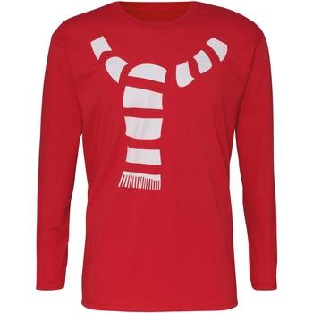vaatteet Miehet T-paidat pitkillä hihoilla Christmas Shop CJ205 Red
