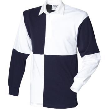 vaatteet Miehet Pitkähihainen poolopaita Front Row FR02M White/Navy (White collar)