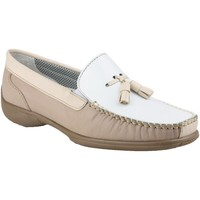 kengät Naiset Mokkasiinit Cotswold BIDDLESTONE White/Beige/Tan