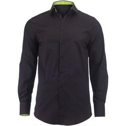 vaatteet Miehet Pitkähihainen paitapusero Alexandra Hospitality Black/ Lime