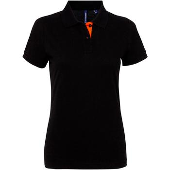 vaatteet Naiset Lyhythihainen poolopaita Asquith & Fox Contrast Black/ Orange