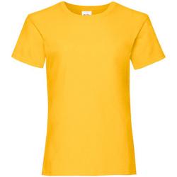 vaatteet Tytöt Lyhythihainen t-paita Fruit Of The Loom 61005 Sunflower