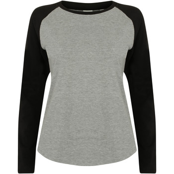 vaatteet Naiset T-paidat pitkillä hihoilla Skinni Fit SK271 Heather Grey / Black