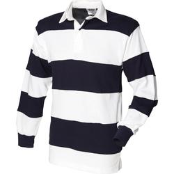 vaatteet Miehet Pitkähihainen poolopaita Front Row FR08M White & Navy (White collar)