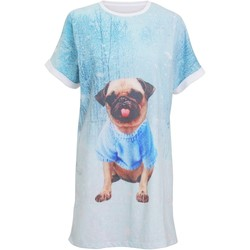 vaatteet Naiset pyjamat / yöpaidat Christmas Shop CS043 Light Blue Pug