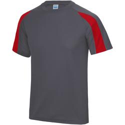 vaatteet Miehet Lyhythihainen t-paita Just Cool JC003 Charcoal/ Fire Red