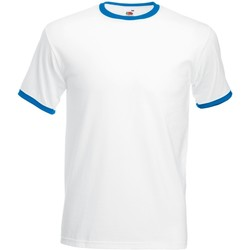 vaatteet Miehet Lyhythihainen t-paita Fruit Of The Loom 61168 White/Royal Blue