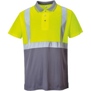 vaatteet Miehet Lyhythihainen poolopaita Portwest  Yellow/ Grey