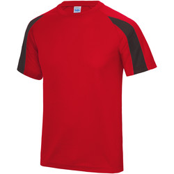 vaatteet Miehet Lyhythihainen t-paita Just Cool JC003 Fire Red/Jet Black