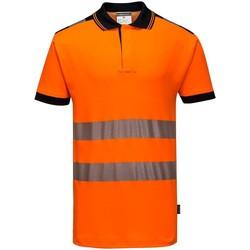 vaatteet Miehet Lyhythihainen poolopaita Portwest PW368 Orange/Black