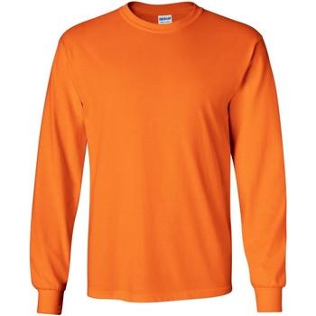 vaatteet Miehet T-paidat pitkillä hihoilla Gildan 2400 Safety Orange
