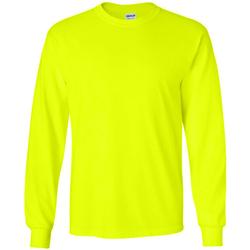 vaatteet Miehet T-paidat pitkillä hihoilla Gildan 2400 New Safety Green