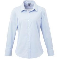 vaatteet Naiset Paitapusero / Kauluspaita Premier PR320 Light Blue/White