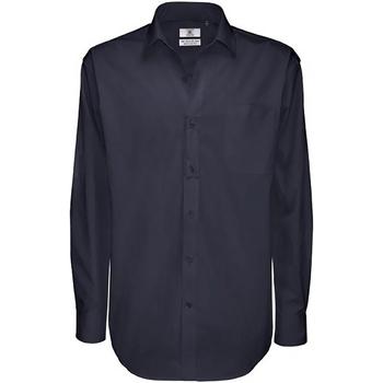 vaatteet Miehet Pitkähihainen paitapusero B And C SMT81 Navy Blue