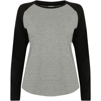 vaatteet Lapset T-paidat pitkillä hihoilla Skinni Fit SM271 Heather Grey / Black