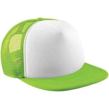 Asusteet / tarvikkeet Lapset Lippalakit Beechfield B645B Lime Green/White