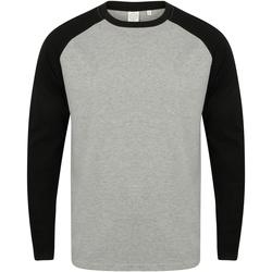 vaatteet Miehet T-paidat pitkillä hihoilla Skinni Fit SF271 Heather Grey / Black