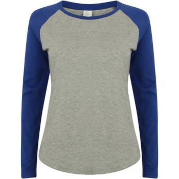vaatteet Naiset T-paidat pitkillä hihoilla Skinni Fit SK271 Heather Grey / Royal