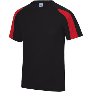 vaatteet Miehet Lyhythihainen t-paita Just Cool JC003 Jet Black/Fire Red