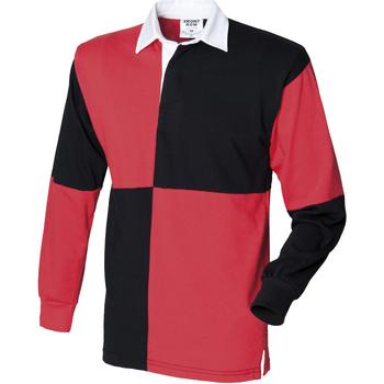 vaatteet Miehet Pitkähihainen poolopaita Front Row FR02M Black/Red (White collar)