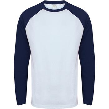 vaatteet Miehet T-paidat pitkillä hihoilla Skinni Fit SF271 White / Oxford Navy
